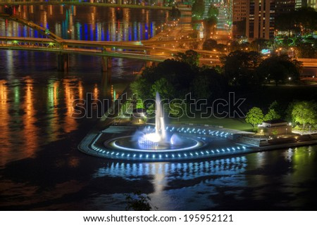 The fountain at the Point State Park, Pittsburgh, Pennsylvania. - stock photo
