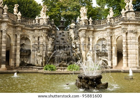 "The fountain ""Bath of nymphs"" in Zwinger. The Zwinger is a palace in Dresden, eastern Germany."
