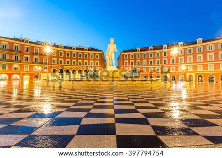 Fountain du soleil on place massena stock photo royalty for Piscine du soleil nice