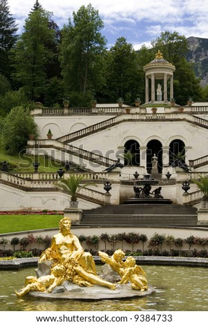 the fountain in castle Linderhof - Germany - stock photo