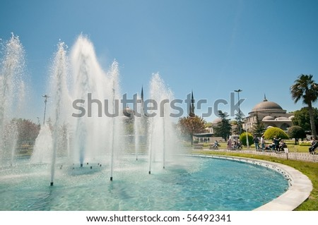 The fountain in front  of Hagia Sofia, istanbul - stock photo