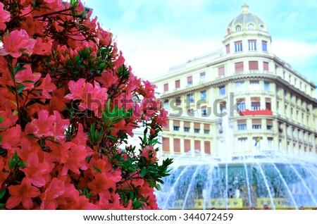 The fountain in Piazza de Ferrari, Genoa - stock photo