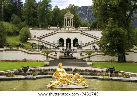 the fountain of castle Linderhof - Germany - stock photo