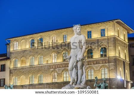 The Fountain of Neptune by Bartolomeo Ammannati in front of the Palazzo Vecchio at Piazza della Signoria in Florence, Italy - stock photo