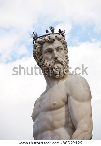 The fountain of Neptune by Bartolomeo Ammannati, in the Piazza della Signoria, Florence, Italy - stock photo