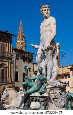 The Fountain of Neptune by Bartolomeo Ammannati. Situated on the  Piazza della Signoria  in front of the Palazzo Vecchio. Florence, Tuscany, Italy. - stock photo