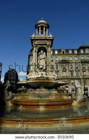 The fountain on Place des Jacobins. Lyon, France. - stock photo