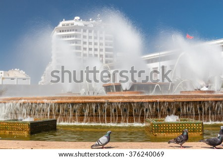 The fountain on the square of Mohammed V. Casablanca, Morocco - stock photo