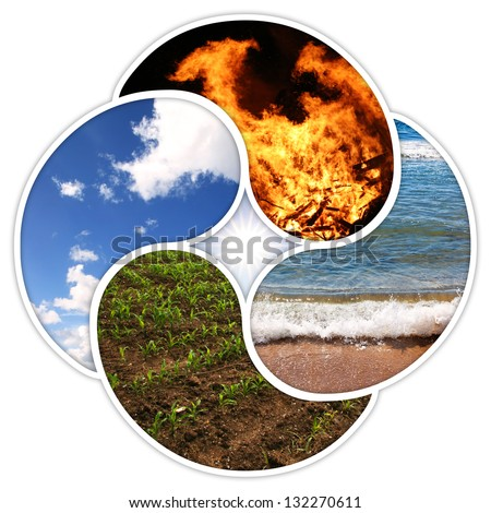 The four elements of nature: fire, water, earth, air