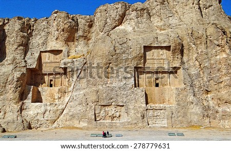 The Four Kings Tombs Valley of Naqsh-e Rustam in Fars Province, Iran on Craquelure Texture - stock photo