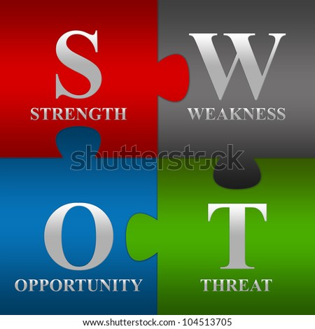 The Four Pieces SWOT Puzzle For Business Concept - stock photo