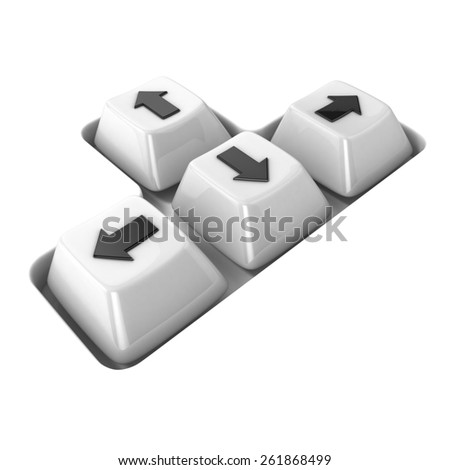 The four white keyboard arrows keys on a white background. Side view. 3D render illustration - stock photo