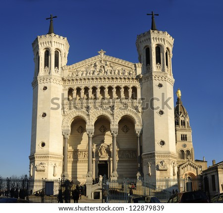 The Fourviere basilica is located in Lyon (France) at the top of the Fourviere hill - stock photo