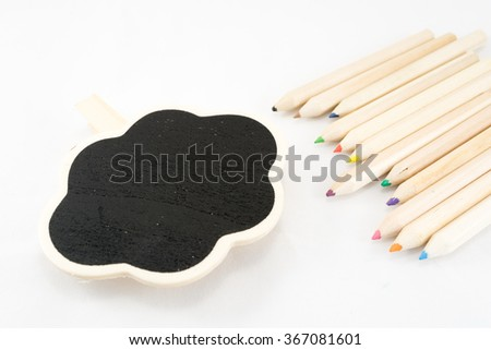 The frame as a cloud with color pencil on white background - stock photo