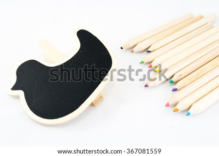 The frame as a duck with color pencil on white background - stock photo