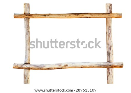 The frame for picture made from rough oak logs, isolated on white background - stock photo