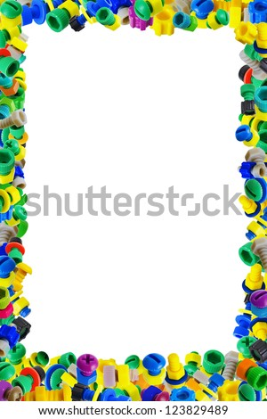 The frame for the children's diploma of color plastic toys - stock photo