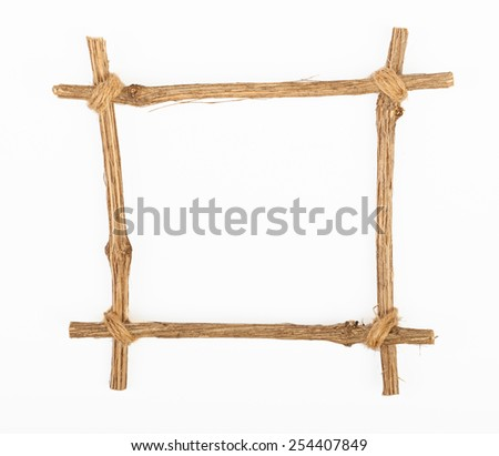 The frame for the picture made from rough pine logs, isolated on white background - stock photo