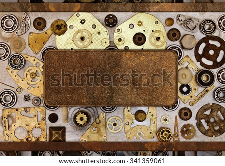 The frame of the parts of the old mechanisms. Abstract  collage of a mechanical device. - stock photo