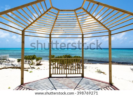 The framed view of a beach on Grand Turk island (Turks and Caicos). - stock photo