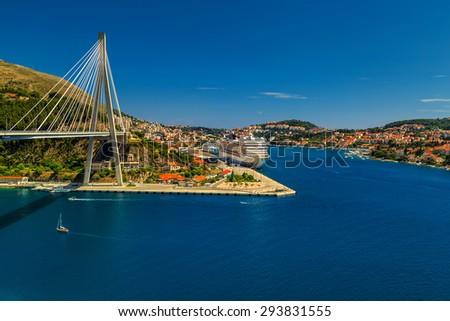 The Franjo Tudjman bridge and blue lagoon with harbor of Dubrovnik,Dalmatia,Croatia,Europe - stock photo