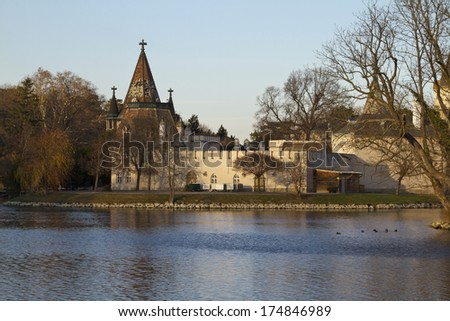 The Franzensburg is the romantic garden castle in Laxenburg, Lower Austria  - stock photo
