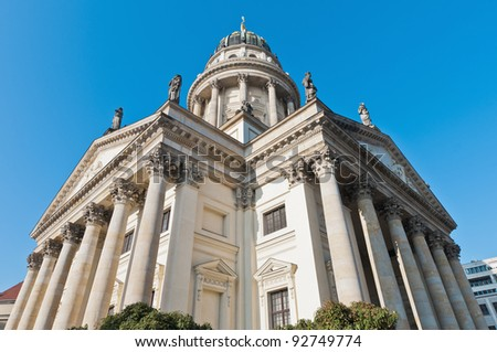 The Franzosischer Dom (French Cathedral) situated on Gendarmenmarkt (the Gendarmes Market) north side at Berlin, Germany - stock photo