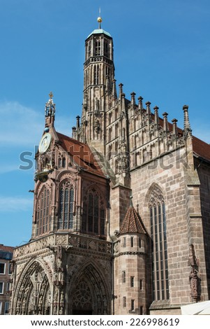 The Frauenkirche (Church of Our Lady) is a church in Nuremberg, Germany. Vertical composition.