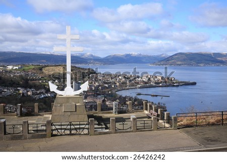 The Free French Memorial on Lyle Hill, Greenock, Scotland, overlooking Gourock and the River Clyde.