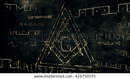 The Free Masonic Grand Lodge Sign and Illuminati Secret Characters in an Abstract Drawing Grungy Design Editorial Illustration - stock photo