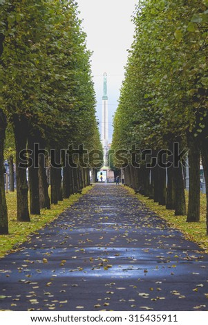 The Freedom Monument in Riga, Latvia. The memorial honours the soldiers killed during the Latvian War of Independence in 1918-1920. - stock photo