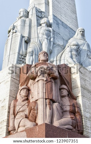 The Freedom Monument of Latvia situated in the capital of Riga. - stock photo