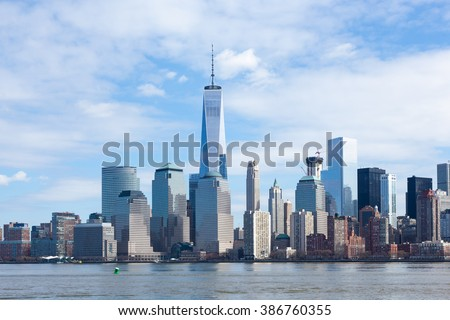 The Freedom Tower and Lower Manhattan Skyline as seen from Liberty State Park in New Jersey on March 6, 2016. - stock photo