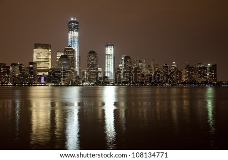 The Freedom Tower under construction at Lower Manhattan - stock photo