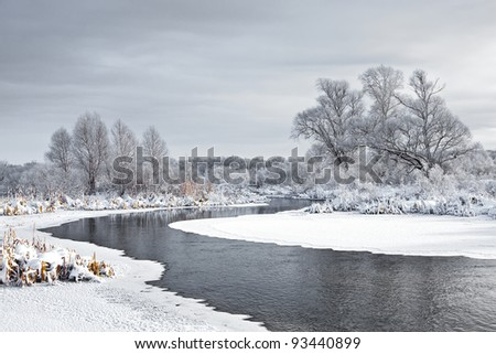 The freezing river - stock photo