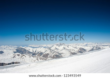 The French Alps with dark blue sky