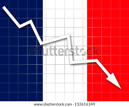 The French flag and arrow graph going down