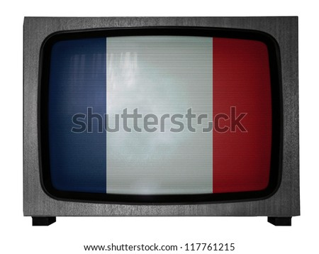 The French flag painted on old TV