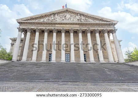 The french national assembly (Palais Bourbon) - the French Parliament (Assemblee nationale). - stock photo