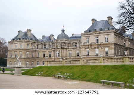 The French Senate and the Jardin du Luxembourg, Paris - stock photo