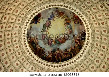The fresco The Apotheosis of Washington adorns the interior of the dome of the U.S. Capitol building in Washington, D.C.  It was painted by Constantino Brumidi. - stock photo