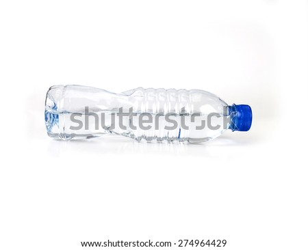 the fresh drink water bottle horizontal placed on white background