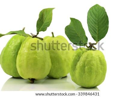 the Fresh green Guava fruit on white background. - stock photo