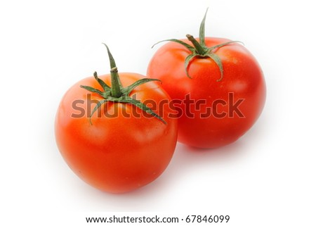 The fresh red tomato isolated on white background