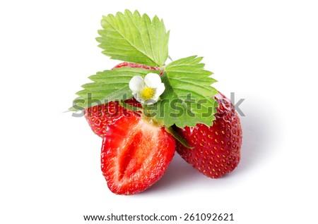 The fresh strawberry isolated on white background - stock photo