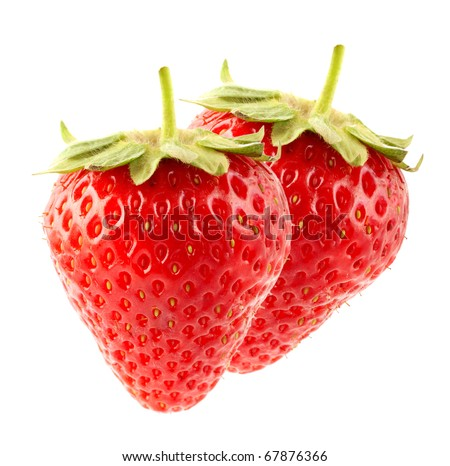 The fresh strawberry on a clear white background - stock photo