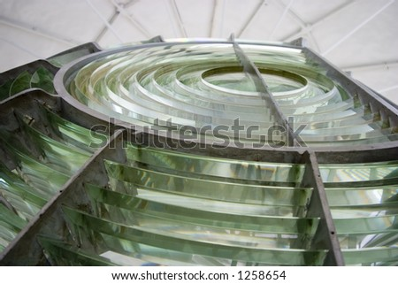 The Fresnel lens of a light house at Point Arena, California.