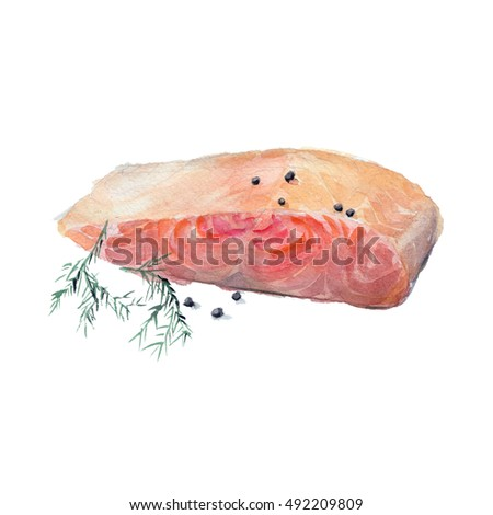 The fried slice of salmon with a fennel branch isolated on white ...