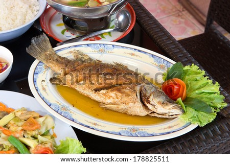 The fried snapper. - stock photo