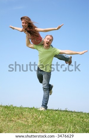 The friend and the girlfriend have fun - stock photo